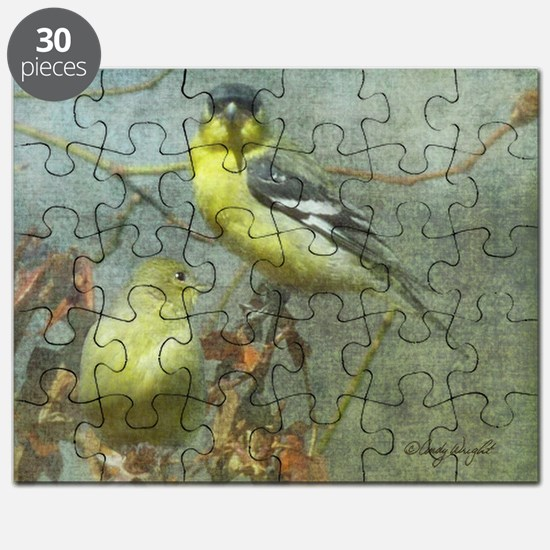 Goldfinch Pair Layered Textures Puzzle