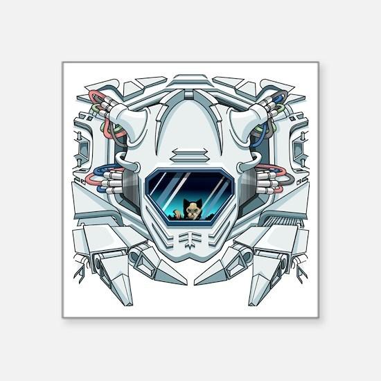 """robotfaceFinal Square Sticker 3"""" x 3"""""""