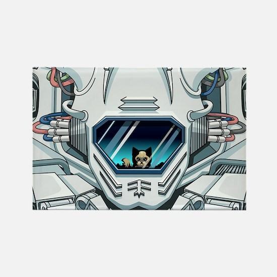 robotfaceGreetingc Rectangle Magnet
