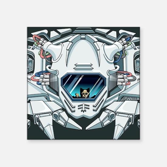 """robotfaceGreetingc Square Sticker 3"""" x 3"""""""