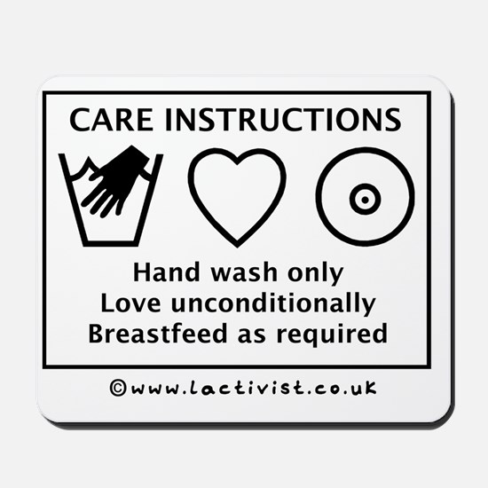 Care Instructions, Hand Wash Only, Love  Mousepad