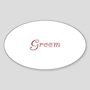 Groom - Red Flirt Oval Sticker