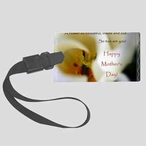 Tulip Mothers Day Card edged Large Luggage Tag