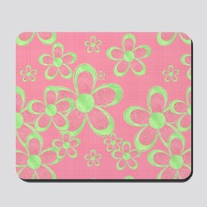 Pink and Green Flowers Mousepad