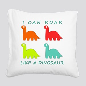 4 Dinosaurs Square Canvas Pillow
