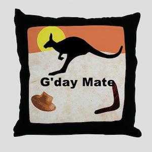 Kagaroo Jillo, Gday Mate Throw Pillow