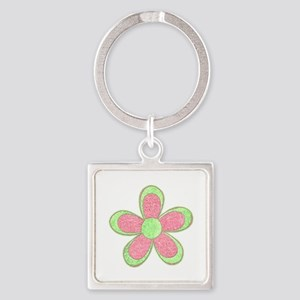 Pink and Green Flowers Keychains