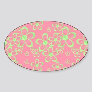 Pink and Green Flowers Sticker