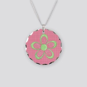 Pink and Green Flowers Necklace