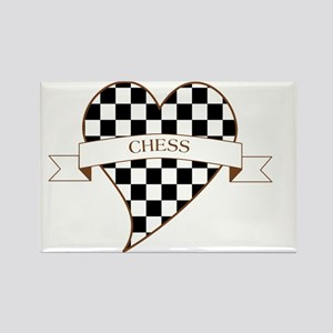 Love Heart Chess Rectangle Magnet