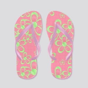 Pink and Green Flowers Flip Flops
