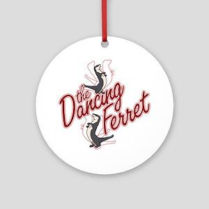 The Dancing Ferret (dark) Round Ornament