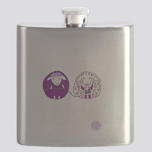 cute sheep couple knitting Flask