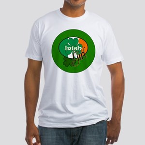 IRISH-GIRL-3-INCH-BUTTON Fitted T-Shirt