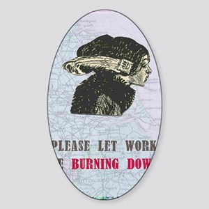 newworkburning-down Sticker (Oval)