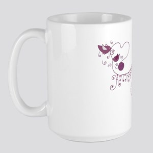 knitting birds  sheep pink Large Mug