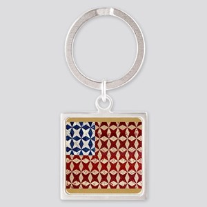 Patrotic USA  quilted flag  note c Square Keychain