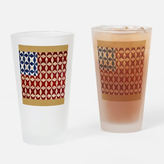 Patrotic USA  quilted flag  note ca Drinking Glass