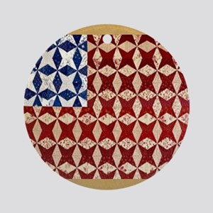 Patrotic USA  quilted flag  note ca Round Ornament