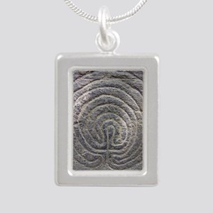 LabyrinthSquareForCP Silver Portrait Necklace