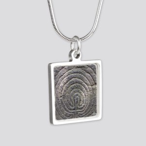 LabyrinthSquareForCP Silver Square Necklace