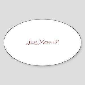 Just Married - Red Flirt Oval Sticker