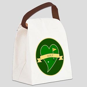 Love Heart Golf Canvas Lunch Bag
