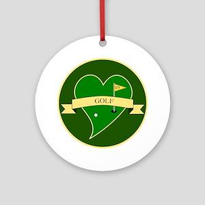Love Heart Golf Round Ornament