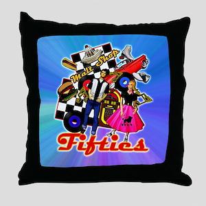 FABULOUS-FIFTIES-BLUE-shower_curtain Throw Pillow