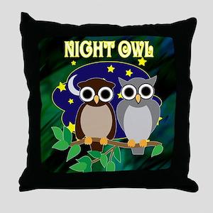NIGHT-OWL-RETRO-70S-shower_curtain Throw Pillow