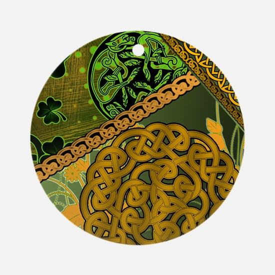 CELTIC-KNOTWORK-IRISH-shower_curtai Round Ornament