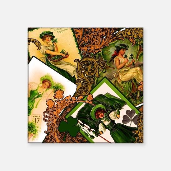 """LADIES-VINTAGE-IRISHshower_ Square Sticker 3"""" x 3"""""""