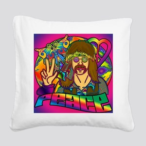 PSYCHEDELIC-PEACE-shower_curt Square Canvas Pillow