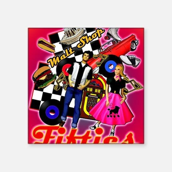"FABULOUS-FIFTIES-shower_cur Square Sticker 3"" x 3"""