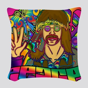 PSYCHEDELIC-PEACE-shower_curta Woven Throw Pillow