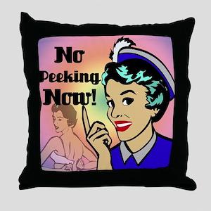 NO-PEEKING-NOW-RETRO-shower_curtain Throw Pillow