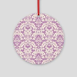 Lovely Lavender Damask Round Ornament