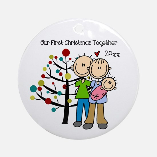 Custom Dad, Mom, Baby Girl Ornament (Round)