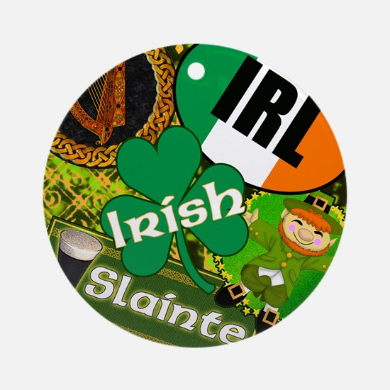 EMERAL-MEMORIES-IRISH-PILLOW Round Ornament