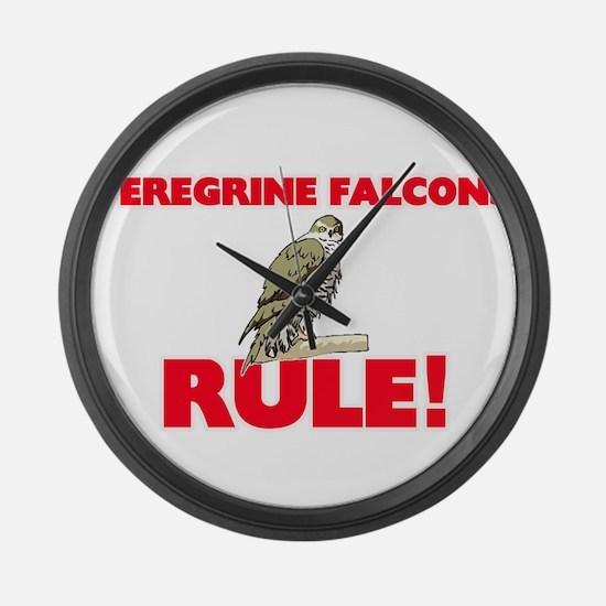 Peregrine Falcons Rule! Large Wall Clock