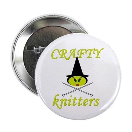"crafty knitter (witch) 2.25"" Button (100 pack)"