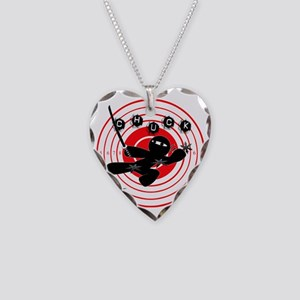 Chuck Ninja Man Assassin Targ Necklace Heart Charm