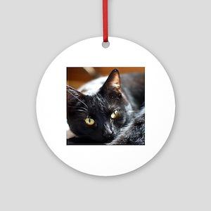 Sleek Black Cat Round Ornament