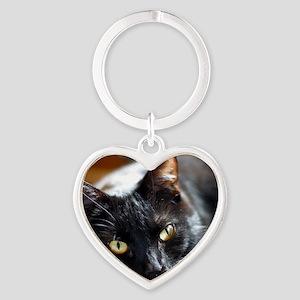 Sleek Black Cat Heart Keychain