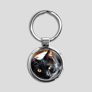 Sleek Black Cat Round Keychain