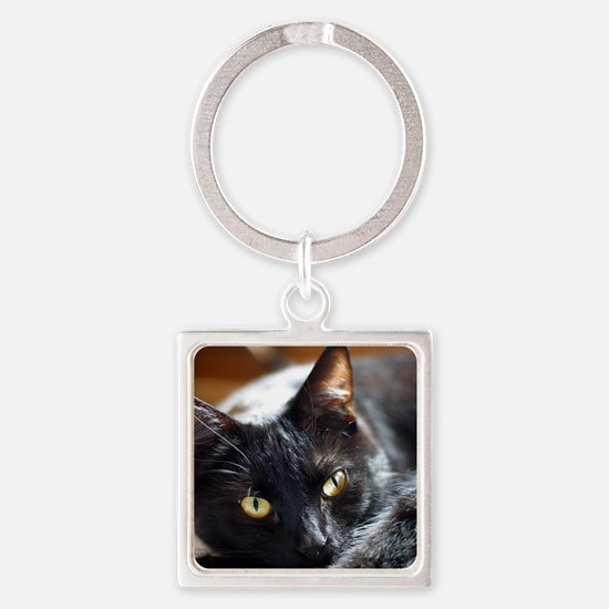 Sleek Black Cat Square Keychain