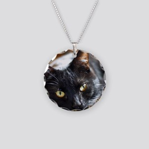 Sleek Black Cat Necklace Circle Charm