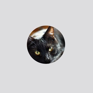 Sleek Black Cat Mini Button