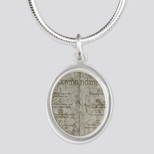 10 Commandments Journal Silver Oval Necklace
