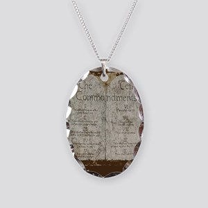 10 Commandments Journal Necklace Oval Charm